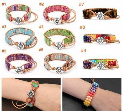 Boho Natural Stone Tube Beads Leather Wrap Handmade Chakra Bracelet Healing Gift](Tube Bracelet)