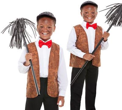 Jungen Viktorianisch Schornsteinfeger Kostüm Kinder Tag+Bürste