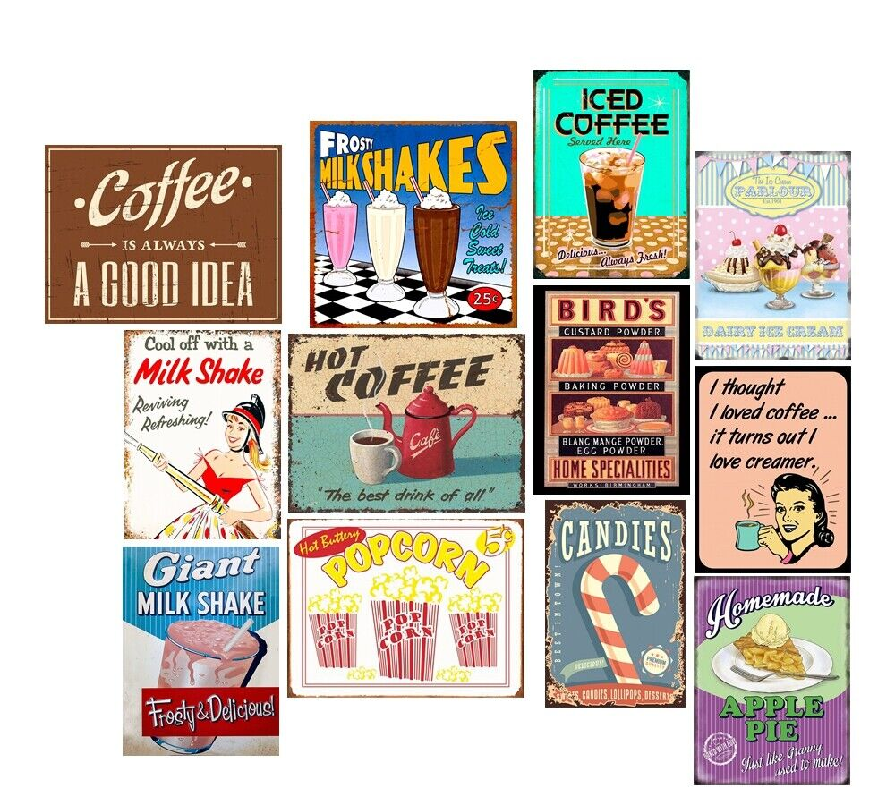 Details About Metal Tin Signs Pie Milk Shake Retro Plate Kitchen Art Wall  Decor