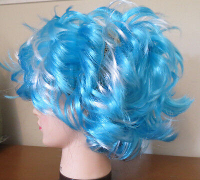 Blue & White Wild Wavy hair Wig Costume Party Prop Disco halloween Rock Star](Halloween White Hair)