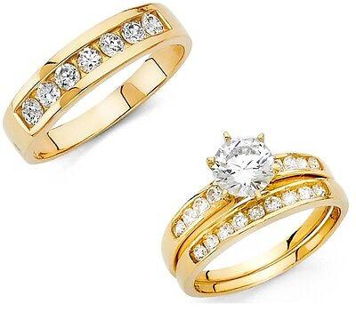 Wedding Set Yellow Gold Setting (2ct Diamond Wedding 14K Yellow Gold Trio His Her Bridal Band Engagement Ring)