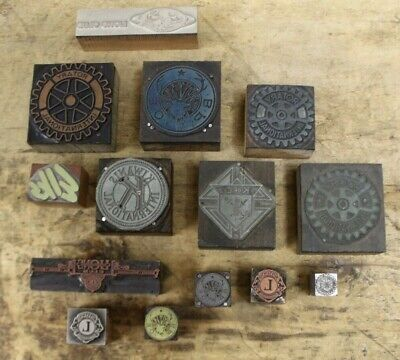 Lot Of 14 Antique Letterpress Print Type Printer Block Elks Lions Club Rotary