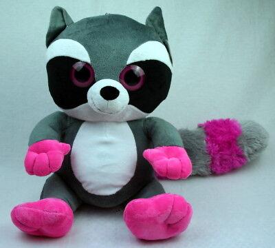 Plüsch Waschbär mit buntem Schwanz, grosse Augen ca 33cm pink Waschbär Schwanz