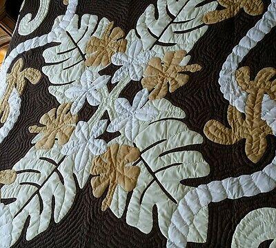 Hawaiian quilt handmade 100% hand quilted/appliqued Kingsiz BEDSPREAD w/ 2 shams