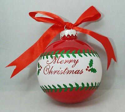 Merry Christmas Glass Ornament Holly Red Green White Ball Gift Stocking Stuffer (Globe Ornament)