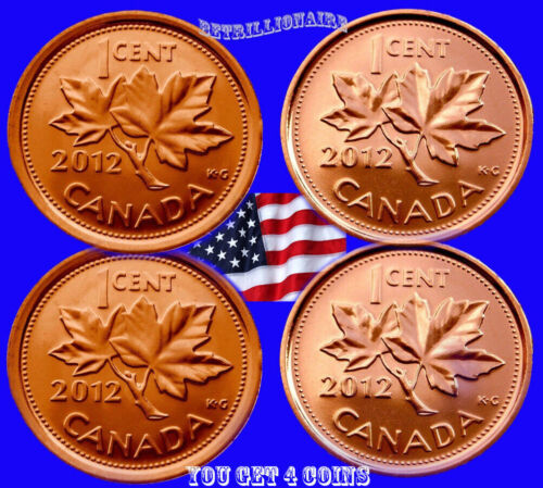 2012 Canada, 4X 1 Cent Canadian Penny, Magnetic & Non Magnetic UNCIRCULAT. One ¢