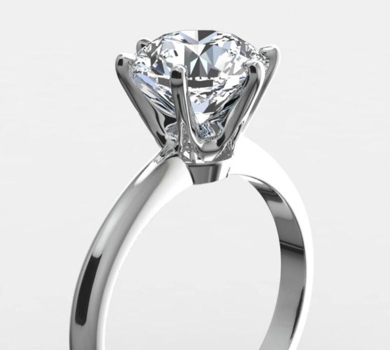 2 Carat Solitaire Diamond Ring Vs1 F Round Brilliant 14 K White Gold 6 Prongs Nr