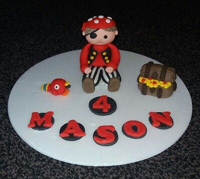 Edible handmade pirate birthday celebration cake topper decoration