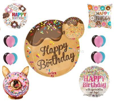 17 PC DONUTS Balloon BOUQUET Birthday PoLiCe SWEETS Pastry Latex Mylar FREE SHIP - Birthday Donuts