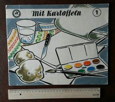 Bastelbogen Postreiter Verlag Halle 1958 Kartoffel Druck Stempel basteln Farbe 1