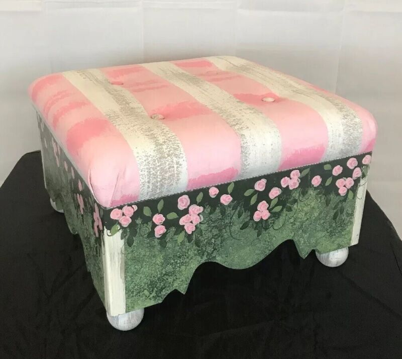 Foot stool ottoman Hand Painted Padded  Wood Pink floral Stripes Storage Shabby