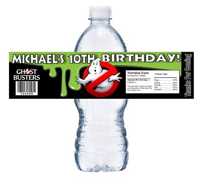 Ghostbusters Birthday Party (10 GHOSTBUSTERS GHOST BUSTERS BIRTHDAY PARTY FAVORS WATER BOTTLE LABELS)
