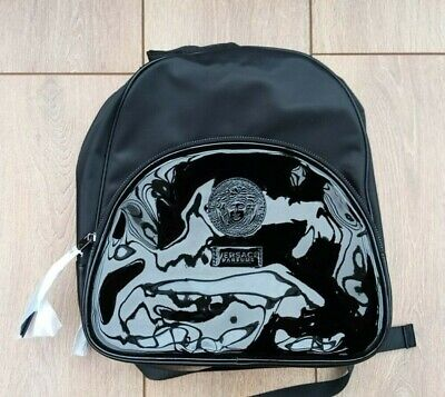 Versace Black Bag Backpack / Rucksack Shopping Work Gym Medusa Design - New.