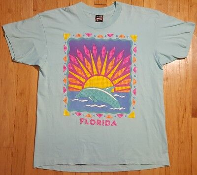 Best Beaches Florida - Vintage 90s FLORIDA dolphin shirt XL 50/50 colorful FOTL Best teal sunset beach