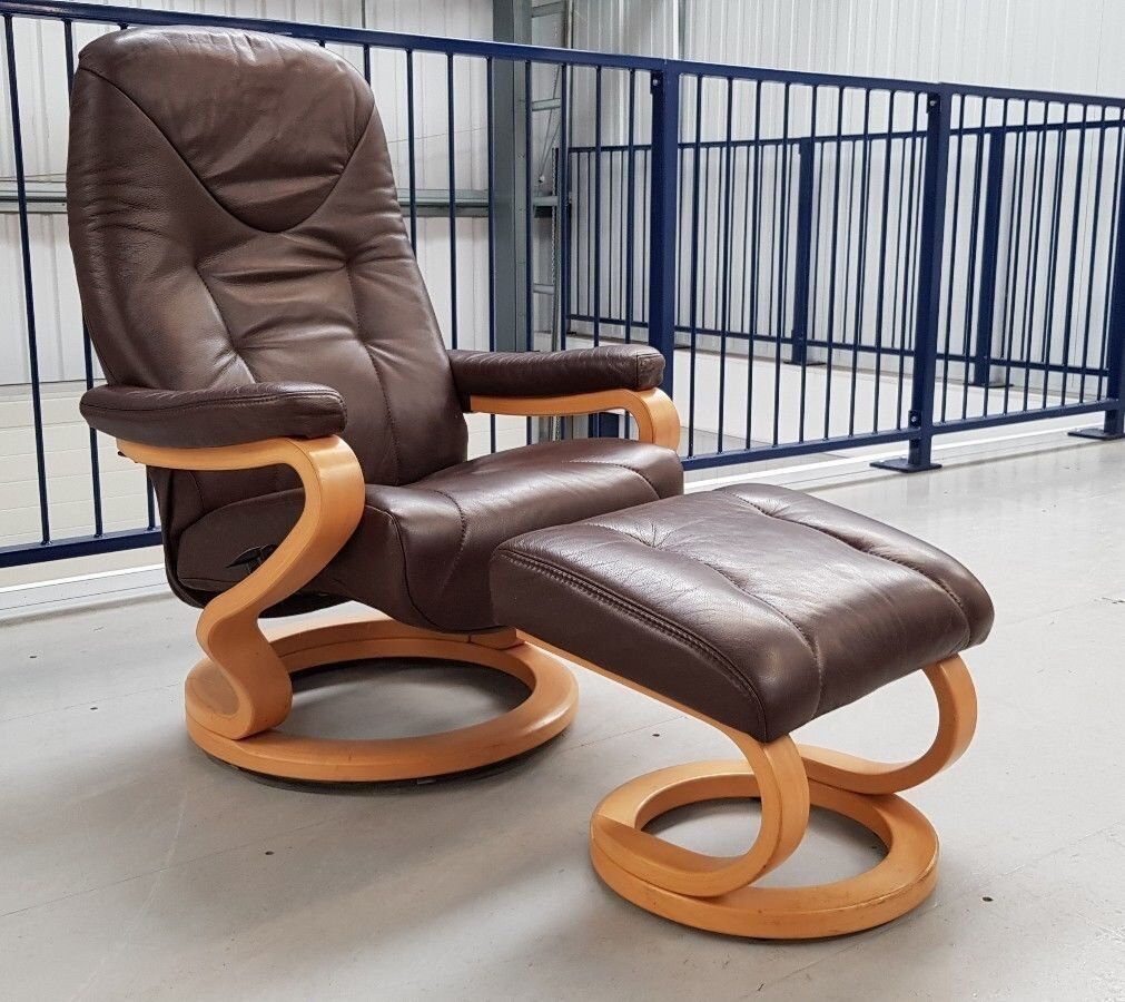 HIMOLLA Stressless Brown Leather Recliner Chair U0026 Stool