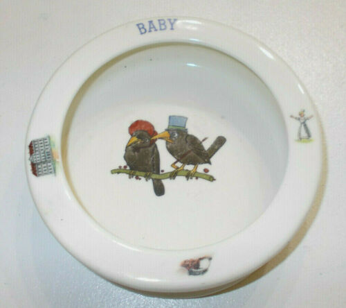 BABY DISH BOWL VERY VINTAGE CZECHOSLOVAKIA BIRDS DESIGN  6 1/2