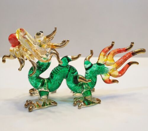 Green Dragon Figurine Art Hand Blown Fantasy Animal Glass Mini Collect Home