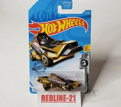 Hot Wheels 2019 Hover & Out Gold Super Chromes Tampo Error Wheels New Free Ship