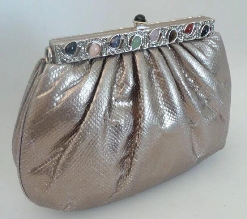 Judith Leiber Silver Snakeskin KARUNG Jeweled Handbag
