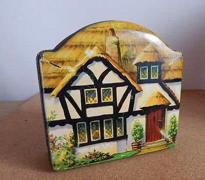 Vintage Tuckers Of Totnes cottage shaped  tin /castle Factory devon 13cm x 13cm
