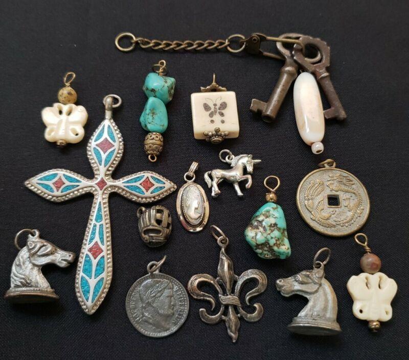 Antique vintage charms pendants gemstones bovine turquoise