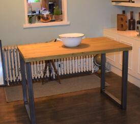 Waxed Industrial Kitchen Table Mid Century Style Steel Legs