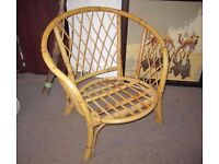 Two Bamboo basket weave chairs and table set