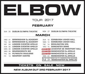 4x Elbow standing ticket, O2 Apollo Manchester, Sunday 19th March 2017