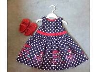 MOTHERCARE baby girl dress and shoes set 6-9 months