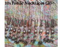 JOB LOT OF 10 FAIR TRADE TASSELL NECKLACES WITH WOOD AND SHELL – NEW