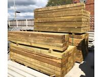 🌞 190 X 90 X 2.4M Pressure Treated Wooden Railway Sleepers