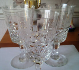 Three Royal Brierley Lead crystal glasses with local interest