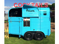 Vintage rice horse box Cocktail & Prosecco bar available for event hire