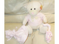 BRAND NEW Soft Toy Baby Girl Teddy Bear H36cm x L32cm x W26cm with a label attached