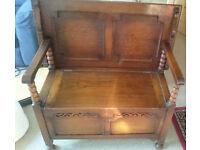 Antique Vintage Solid Oak Wood Monks seat Sideboard