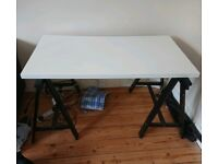 Ikea desk with trestles white and black