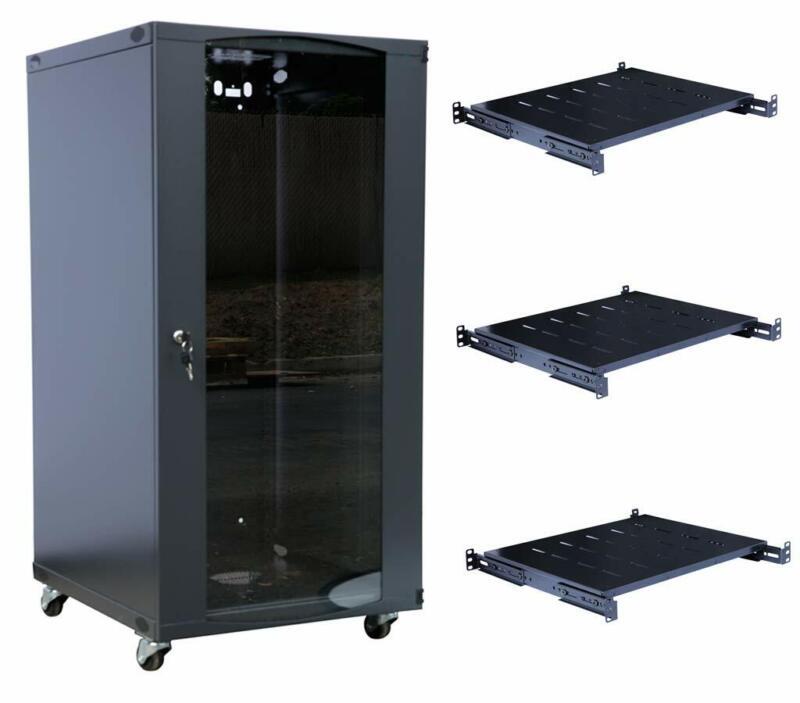 """15U Wall Mount Network Server Cabinet Enclosure Glass Door Lock 22.75"""" Depth"""