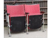 A Pair of Vintage Art Deco C1930s Stylized Cube Design Cinema Theatre Seats REF107 UK Delivery