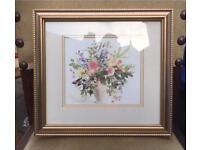 Celia Russell Gold Framed Flower Signed Print