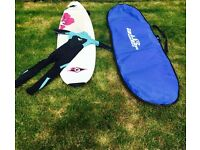 Girls longboard with cover and Roxy wetsuit age 11-14