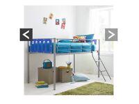 Mid sleeper single bed blue