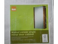 Brand new walnut veneer single mirror door cabinet. Was £50. Brought down to half price: £25.