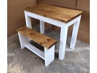 Solid Pine dining set table and 2 benches