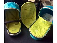 Icandy peach seat unit and carrycot. Sweat pea