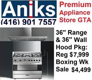 """European Design S9GMXU-FFPLN36W5FS Smeg 36"""" DF Range and 36"""" Wall Mount Hood Package Boxing Week Sale $4499"""