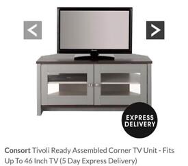 Consort Tivioli Ready assembled corner tv unit up to 46 inch TV and matching nest of tables