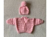 Baby Girl Hand Knitted Cardigan Set 0 - 3 Months