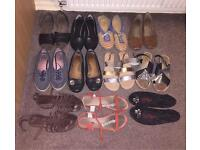 Ladies Shoes/Sandals - 11 pairs job lot - all size 7/8