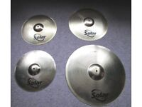 "SABIAN Solar Cymbals Full Set 14"" Hi Hat Pair, 16"" Crash & 20"" Ride Cymbal"
