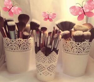 SET OF 3 Make Up Brush Holder/Storage Pots White 2 X Large 1 X Small UK Seller